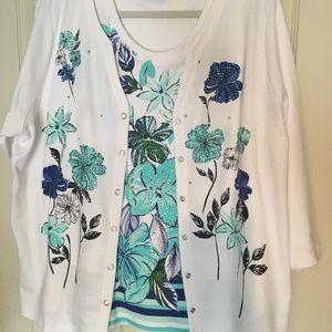 Quacker Factory Floral Print Knit Twinset